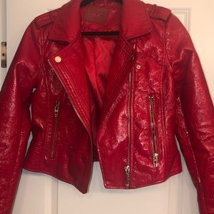 NWOT blnknyc red glossy leather jacket